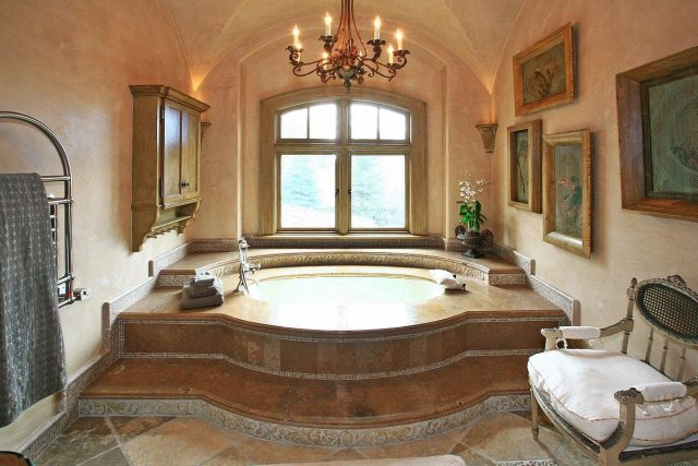 There's a beautiful tub in one wing of the master suite.