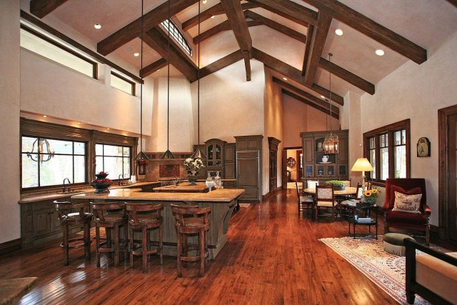 The kitchen is also huge, its size amplified by the high ceilings.