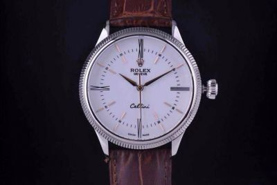Rolex Cellini White Face Brown Leather Watch