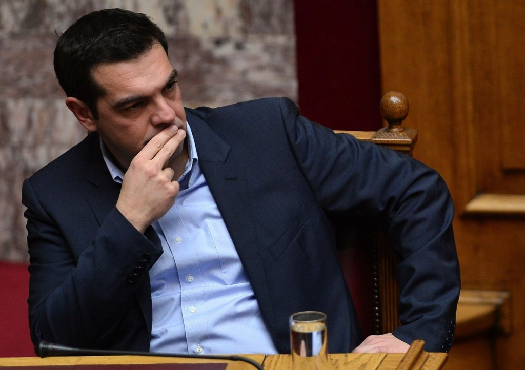 Greek Prime minister Alexis Tsipras attends a parliament session ahead of the confidence vote of the new government on February 10, 2015. Greece's new leftist government fine-tuned a 10-point plan aimed at persuading its international creditors to reluctantly rethink their bailout terms and prevent the country from going bust. AFP PHOTO / LOUISA GOULIAMAKI        (Photo credit should read LOUISA GOULIAMAKI/AFP/Getty Images)